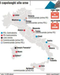 ELEZIONI COMUNALI - Cartina con i 16 Comuni capoluogo alle urne (88mm x 110mm)
