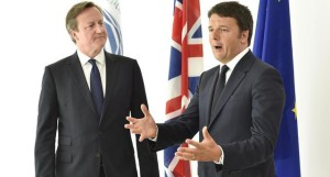 Italian Prime Minister Matteo Renzi (R) speaks next his British counterpart David Cameron during an event at the Milan Expo 2015 global fair in Milan, Italy June 17, 2015. ANSA/REUTERS/POOL/STRINGER