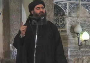 A frame from video released by the Islamic State (IS) purportedly shows the caliph of the self-proclaimed Islamic State, Abu Bakr al-Baghdadi, giving a speech in an unknown location. ANSA/ISLAMIC STATE VIDEO / HANDOUT HANDOUT EDITORIAL USE ONLY