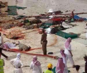 epa04925732 A general view from inside the Grand Mosque in Mecca, Saudi Arabia, showing bodies laying scattered on the floor after a large crane collapsed on the mosque on 11 September 2015. The civil defense authority of Saudi Arabia has confirmed at least 52 casualties with some 30 people injured in the accident. EPA/STRINGER ATTENTION EDITORS: GRAPHIC CONTENT