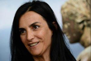 """Il sottosegretario alla Cultura ed al Turismo, Francesca Barracciu, durante il convegno intitolato """"La memoria del futuro"""" organizzato da Ansamed a Pompei, 20 maggio 2014. ANSA / CIRO FUSCO"""