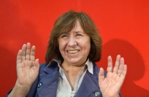 Belarusian writer Svetlana Alexievich gestures during a press conference at the Frankfurt Book Fair, in Frankfurt am Main,??Germany, 11 October 2013. Alexievich will receive the 2013 Peace Prize of the German Book Trade during the award ceremony on 13 October. ANSA/ARNE??DEDERT