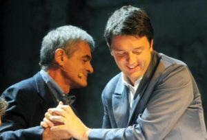 Sergio Chiamparino e Matteo Renzi durante la convention Big Bang alla stazione Leopolda, Firenze, 29 ottobre 2011. ANSA / MAURIZIO DEGL' INNOCENTI
