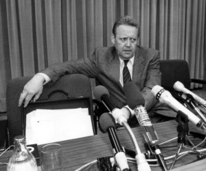 epa05005858 (FILE) Afile photo dated 09 November 1989 shows Guenter Schabowski, spokesman for the SED Politbuero, with a serious expression during a press conference in East Berlin,EastGermany (GDR). Schabowski's improvised comments that the changes in the travel regulations were 'effective immediately' set-off a storm of East German citizens who crossed the inner-German borders. Schabowski died on 01 November 2015.  EPA/STR