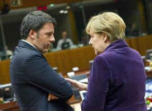 Italian Prime Minister Matteo Renzi talks to German Chancellor Angela Merkel (R) during an EU Summit in Brussels, Belgium, 17 December 2015. ANSA/ PRESS OFFICE/ CHIGI'SPALACE/ TIBERIO BARCHIELLI/ ENZO ZUCCHI  +++ANSA PROVIDES ACCESS TO THIS HANDOUT PHOTO TO BE USED SOLELY TO ILLUSTRATE NEWS REPORTING OR COMMENTARY ON THE FACTS OR EVENTS DEPICTED IN THIS IMAGE; NO ARCHIVING; NO LICENSING+++