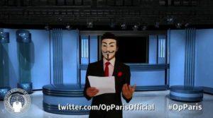 +++ ANSA PROVIDES ACCESS TO THIS HANDOUT PHOTO TO BE USED SOLELY TO ILLUSTRATE NEWS REPORTING OR COMMENTARY ON THE FACTS OR EVENTS DEPICTED IN THIS IMAGE; NO ARCHIVING; NO LICENSING +++ Un frame tratto dall' ultimo video riconducibile alla galassia di 'hacktivisti' di Anonymous, già responsabile per una serie di attacchi informatici contro profili ritenuti legati allo Stato Islamico, Roma, 30 Novembre 2015. ANSA/ WEB/ YOUTUBE