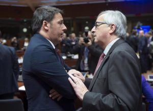 Italian Prime Minister Matteo Renzi, with EU Commission President Jean Claude Juncker during the EU-Turkey summit at the EU Council building in Brussels on Sunday, Nov. 29, 2015. ANSA / US PALAZZO CHIGI - TIBERIO BARCHIELLI - PRESS OFFICE +++ANSA PROVIDES ACCESS TO THIS HANDOUT PHOTO TO BE USED SOLELY TO ILLUSTRATE NEWS REPORTING OR COMMENTARY ON THE FACTS OR EVENTS DEPICTED IN THIS IMAGE; NO ARCHIVING; NO LICENSING+++