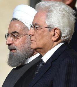 Italian President Sergio Mattarella (R) welcomes Iranian President Hassan Rouhani (L) at Quirinale Palace in Rome, Italy, 25 January 2016. ANSA / ETTORE FERRARI