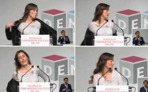 Un frame mostra il ministro delle Riforme, Maria Elena Boschi, durante il suo intervento alla scuola di formazione del Pd, Roma, 27 Febbraio 2016. ANSA/ WEB