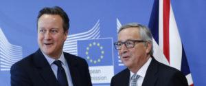 16/02/2016 Bruxelles, il presidente della Commissione Europea Jean-Claude Juncker riceve il primo ministro britannico David Cameron