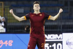 Roma's forward Stephan El Shaarawy celebrates afterscored the first goal of the Italian Serie A soccer match between Empoli FC and AS Roma at Carlo Castellani stadium in Empoli, Italy, 27 February 2016. ANSA/Fabio Muzzi