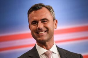 epa05275774 Norbert Hofer of right-wing Austrian Freedom Party (FPOe) smiles as he attends a TV interview on the Austrian presidential elections in Vienna, Austria, 24 April 2016. Exit polls suggested a lead for right-wing candidate Norbert Hofer. Voters could choose between six candidates. Around 6.4 million Austrians aged over 16 were eligible to vote to elect the ninth head of state of the Austrian Second Republic, founded in 1945. EPA/FILIP SINGER