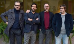 (L-R) Italian actors/cast members Marco Giallini, Edoardo Leo, Valerio Mastandrea and Giuseppe Battiston pose during the photocall for 'Perfetti sconosciuti' at a hotel in Central Rome, Italy, 02 February 2016.      ANSA/ ETTORE FERRARI