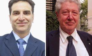 Mario Tagnin (S) e Renzo Caramaschi in un'immagine combinata, 22 maggio 2016. Oggi a Bolzano si vota per eleggere il sindaco. I quasi 80.000 elettori potranno recarsi alle urne per scegliere nel ballottaggio fra Renzo Caramaschi, sostenuto da una coalizione di centro-sinistra che l'8 maggio scorso al primo turno si era imposto con il 22,32% dei voti, e Mario Tagnin, appoggiato dal centro-destra che si era fermato al 18,39%. ANSA