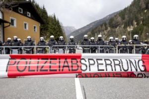 Riot Austrian police line up to face protesters (not pictured) during a rally against the Austrian government's planned re-introduction of border controls at the Brenner Pass, Austria, 24 April 2016. ANSA/JAN HETFLEISCH
