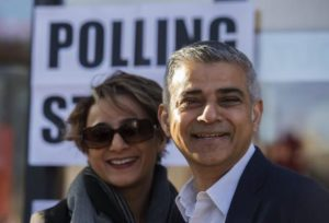 British Labour party candidate for Mayor of London Sadiq Khan (R) poses with his wife Saadiya Khan (L) after voting at a polling station in south London, Britain, 05 May 2016. Londoners head to the polls to elect the successor to London's current Mayor Boris Johnson.  ANSA/HANNAH MCKAY