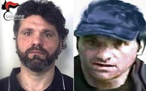 La combo mostra Ernesto Fazzalari, a sinistra al momento dell'arresto di oggi, a destra nella foto segnaletica dell'Europol. ANSA/CARABINIERI-EUROPOL +++ ANSA PROVIDES ACCESS TO THIS HANDOUT PHOTO TO BE USED SOLELY TO ILLUSTRATE NEWS REPORTING OR COMMENTARY ON THE FACTS OR EVENTS DEPICTED IN THIS IMAGE; NO ARCHIVING; NO LICENSING +++