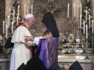 Pope Francis flanked by Catholicos Karenin II, visits the Apostolic Cathedral of Etkhmiadzin near Yerevan, Armenia, 24 June 2016.   ANSA/MAURIZIO BRAMBATTI