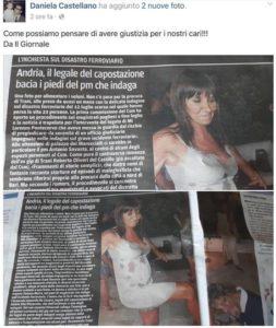 Scontro Treni: avvocato indagato bacia piede a pm inchiesta Trani. Foto del IL Giornale postata su Facebook da figlia di una delle vittime