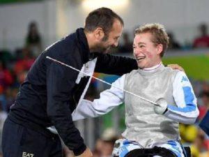 Beatrice 'Bebe' Vio dopo aver vinto la medaglia d'oro nel fioretto di categoria B alle Paralimpiadi di Rio. E' il quinto oro odierno per l'Italia, settimo in totale. Rio de Janeiro, 14 settembre 2016. ANSA/ US FEDERAZIONE ITALIANA SCHERMA +++EDITORIAL USE ONLY - NO SALES+++