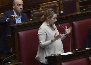 Giorgia Meloni, durante il question time, nell'aula della Camera dei Deputati, Roma, 3 agosto 2016. ANSA/GIORGIO ONORATI