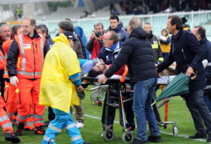 PESCARA, ITALY - APRIL 14:  Piermario Morosini of Livorno is carried to an ambulance on a stretcher after suddenly collapsing during the Serie B match between Pescara Calcio and AS Livorno at Adriatico Stadium on April 14, 2012 in Pescara, Italy. 25-year-old Italian footballer Piermario Morosini died after he suffered a cardiac arrest midway through the match. All Italian Serie A and Serie B matches for this weekend have now been suspended.   (Photo by Giuseppe Bellini/Getty Images)