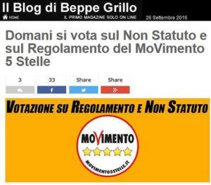 Il Blog del leader del Movimento Cinque Stelle, Beppe Grillo, sul quale domani sarà possibile votare sul Non Statuto e sul Regolamento del Movimento, Roma, 26 Settembree 2016. ANSA/ WEB/ BEPPE GRILLO.IT