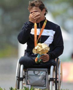 Alex Zanardi ha conquistato la medaglia d'oro alle Paralimpiadi di Rio de Janeiro nella cronometro H5 bissando il titolo di Londra 2012, 14 settembre 2016. ANSA/ REDAZIONE@ABILITYCHANNEL.TV/ MICHELANGELO GRATTON +++EDITORIAL USE ONLY - NO SALES+++