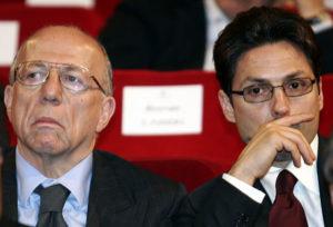 Fedele Confalonieri con Piersilvio Berlusconi in una foto d'archivio. DANILO SCHIAVELLA / ANSA / PAL
