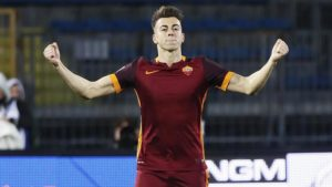 Roma's forward Stephan El Shaarawy celebrates afterscored the first goal of the Italian Serie A soccer match between Empoli FC and AS Roma at Carlo Castellani stadium in Empoli,ess_2d28c6be7ca3424122b471e2e601/Fabio Muzzi