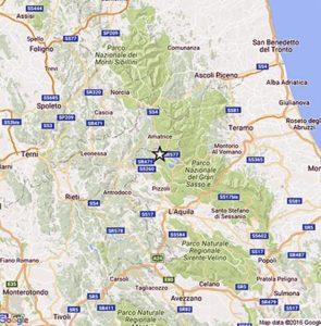 Nella cartina dell'Ingv l'epicentro del terremoto di magnitudo 4.4 registrato alle 17:14, 29 novembre 2016. La scossa è stata nettamente avvertita a L'Aquila città, ed inoltre, in altri comuni abruzzesi e delle Marche. ANSA/INGV +++EDITORIAL USE ONLY - NO SALES+++