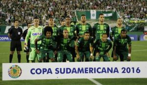 A picture dated 23 November 2016 and made available on 29 November 2016 shows players of the Brazilian Chapecoense soccer team before their semifinal match of the South American Cup, at the Conda Arena of Chapeco, Brazil. A plane reportedly carrying 81 people, including the players of the Brazilian soccer club Chapecoense, has crashed on 29 November 2016. The plane was said to have crashed in a mountainous area outside Medellin as it was approaching the Jose Maria Cordoba airport, media said. The cause of the incident is yet uknown. The Chapecoense were scheduled to play in the Copa Sudamericana final against the Medellin's Atletico Nacional on 30 November. EPA/MARCIO CUNHA