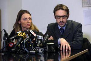 Fabio Giarda e Giada Boccellari, avvocati difensori di Alberto Stasi, condannato per l'omicidio di Chiara Poggi a Garlasco il 13 agosto 2007, durante la conferenza stampa nella sala stampa del Palazzo di Giustizia di Milano, 19 dicembre 2016. ANSA / MATTEO BAZZI