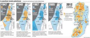 La cronologia dei confini di Israele e territori Palestinesi