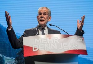 epa05659699 (FILE) A file picture dated 02 December 2016 shows Presidential candidate and former head of the Austrian Green Party Alexander Van der Bellen speaks during his final election rally in Vienna, Austria. Van der Bellen on 04 December 2016 is tipped the winner in the early projections as polls close in the country which holds a re-run of the run-off which was narrowly won by van der Bellen on 22 May but later annulled by Austrian courts due to minor irregularities in vote counting following an appeal from rival Hofer. EPA/CHRISTIAN BRUNA