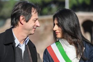 The mayor of Rome, Virginia Raggi (R) and Luca Bergamo, Department of Culture of the Municipality of Rome (L) on the occasion of the reopening of the Circus Maximus after restoration, Rome, Italy 16 November 2016. ANSA/ALESSANDRO DI MEO