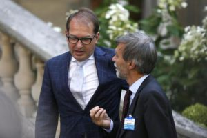 German Federal Minister of Transport and Digital Infrastructure Alexander Dobrindt (L) and Italian Minister in charge of Infrastructure and Transport Graziano Delrio after the emergency meeting on border cooperation, at the French interior ministry in Place Beauvau in Paris, France, 29 August 2015. EPA/ETIENNE LAURENT