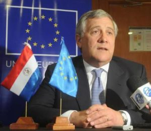 Vice-President of the European Commission, reponsible for Industry and Entrepreneurship, Antonio Tajani, from Italy, advises the European countries to 'close the door' on the austerity programs and to focus on promoting economical growth, in Asuncion, Paraguay, 14 June 2014. ANSA/Cesar Munoz
