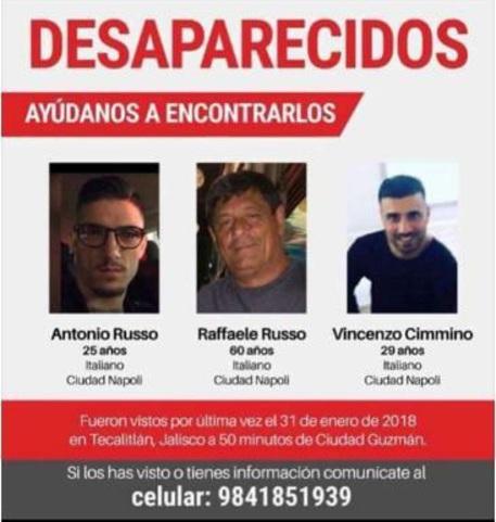 Tre italiani scomparsi in Messico
