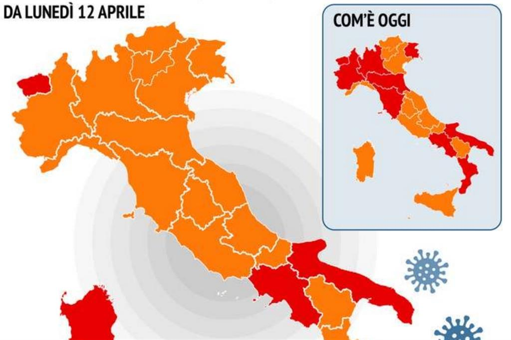 Regioni in arancione dal 12 aprile